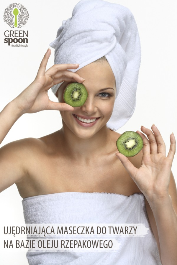 Girl with kiwi mask